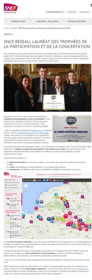 SNCF Réseau, lauréat des Trophées de la participation et de la concertation SNCF Réseau